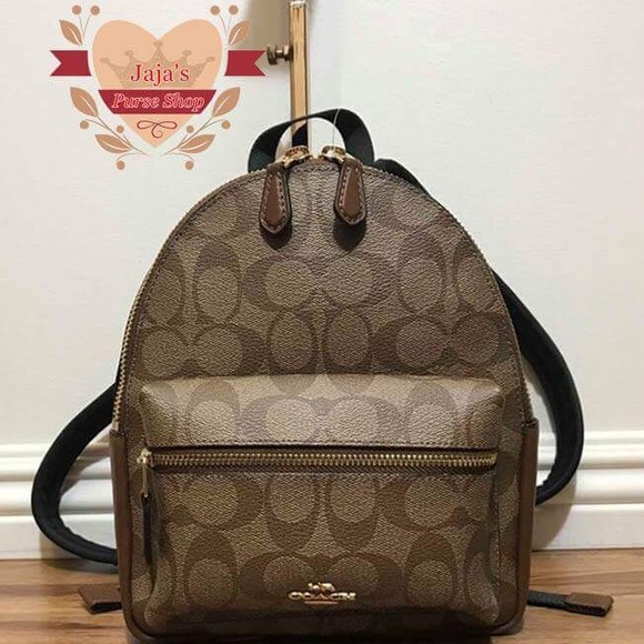 NWT Coach F58315 Mini Charlie Signature Backpack Bag Khaki Saddle $295